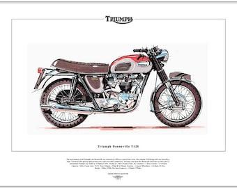 TRIUMPH BONNEVILLE T120 - Motorcycle Fine Art Print 650