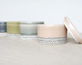 Salt Cellar - Herringbone- Made to Order