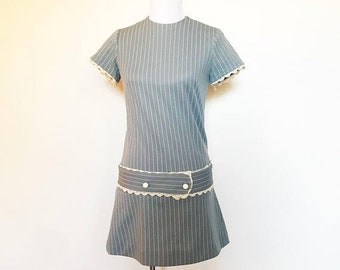 SHOP SALE Vintage 60s Powder Blue Lace and Striped Mini Mod Dress