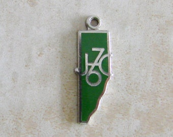 JC 76 Green Enamel Sterling Silver Bracelet Charm Map