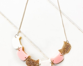 NECKLACE : Kitty Cat Necklace (Pink + Gold)