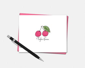 Personalized Note Cards - Set of 10 Cherry Folded Note Cards - Personalized Cherry Gifts for Her - Custom Note Card Set
