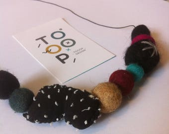 Necklace beads felt PomPoms design wool felt balls large fabric beads
