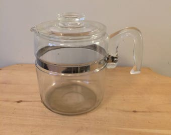 Vintage Pyrex Glass 9 cup Flameware Percolator Pot and Lid only Vintage Pyrex 7826B Nine Cup Stove Top Percolator Coffee Pot