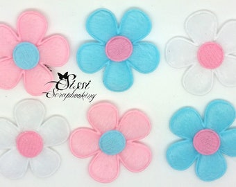 LOT 6 LOT 6 SKY BLUE FLOWER APPLIQUES FLOWERS PINK AND WHITE