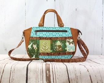 Handbag, Tote bag, fabric tote, women's tote, patchwork tote, cross body tote, cork purse