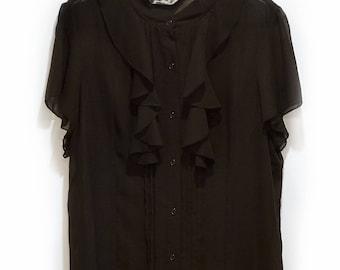 90's Vintage Norma Kamali Tuxedo Ruffle Black Sheer Chiffon Blouse Womens Size XL Boho Hippie 70s Fall Winter Cocktail Style