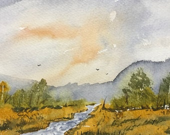 Valley Stream Original Watercolor Painting:  wall decor gift idea personal office art birthday gift house warming gift WestokArt