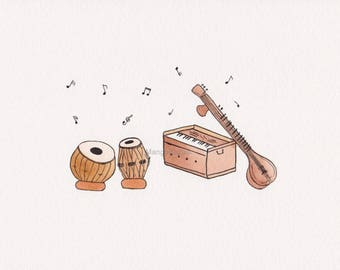 Indian musical instruments tabla, harmonium and sitar, watercolor painting,  classical music - digital file - Instant download