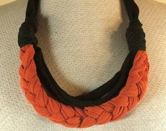 Black and orange braided tshirt necklace handmade with repurppsed fabric