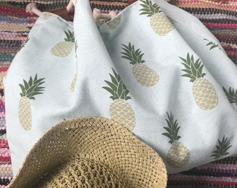 Large pineapple printed cotton beach tote
