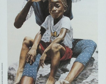 Island Girls - Bahamian art print of original oil painting by Nicole Minnis