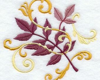 Ash Leaf Filigree Embroidered Flour Sack Hand Towel