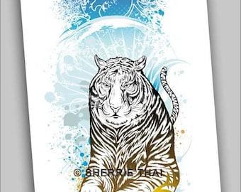Tribal Tiger Illustration, 5x7 Commercial Print