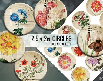 Digital Collage Sheet Vintage Flower Postcard 2.5 Inch and 2in Circle Download Printable Images for Gift Tags Cards Scrapbooking JPG