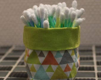 Q-tips - reversible - green and pastel geometric pattern basket