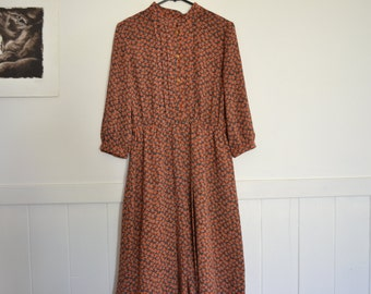 80's 90's retro print dress 3/4 sleeve size 10/12 mandarin collar lined semi sheer