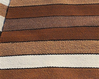 "Paco-Vicuna Wool, Handwoven Rug or Runner 36"" x 64"" - Browns, Black, Cream Stripes, Fringe"