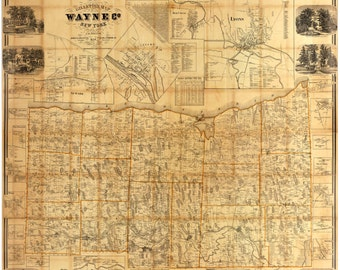 Wayne County  New York 1858  - Old Wall Map Reprint with Homeowner Names - Genealogy