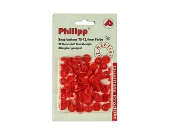 BabySnap 20 plastic push buttons Tomato red B61