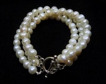 Everyday Natural Freshwater Pearl Triple Strand Bracelet