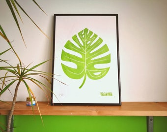 Live Wild - Philodendron Palm Leaf - A3 Limited Edition Framed Lino Block Print