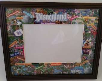 Disneyland Park Map Collage Picture Frame - Horizontal