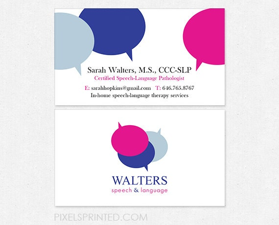Slp speech language pathologist business cards thick zoom colourmoves