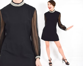 60s Black Rhinestone Mini  Dress | Black Party Dress with Rhinestone Collar | Small