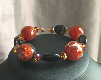 Fire dragon vein agate bracelet