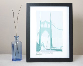 St. Johns Bridge Illustrated Print / Portland Oregon Art Print / Portland Bridges Wall Art