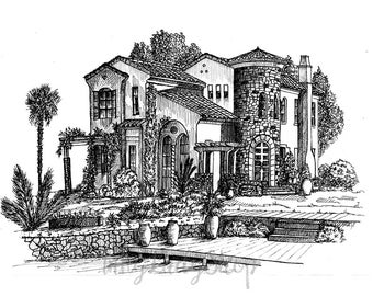 Custom house portrait. Custom pen and ink house drawing. Custom architectural drawing. Pen and ink house sketch. Home drawing. Housewarming