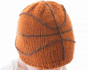 Baby Basketball Hat KNITTING PATTERN - Sports knit hat pattern for babies, infants - sizes 0-3 m, 6 m, 12 months, 2T+, Basketball hat