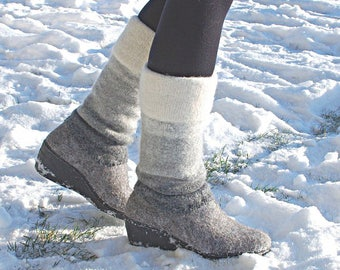 Felted wedge heel boots, tall winter boots, two tone boots