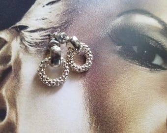 Vintage Signed Monet Dainty Silvertone Pierced Earrings