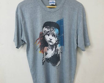 Vintage 80s Les Miserables T-shirts Musical Film Nice Rare Design