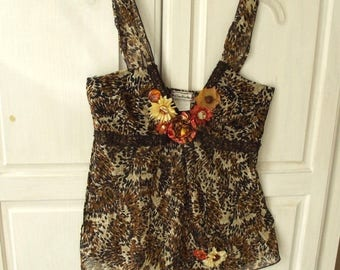 Embellished Camisole Top, Tribal Brown, Boho, Altered Couture, Handmade Flowers, Silky Animal Print, Cowgirl Chic