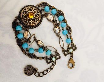 Vintage Antique Brass & Crystal Beaded Bracelet