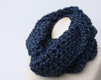 Mens Scarf, Knit Scarf, Mens Infinity Scarf, Chunky Scarf, Denim Twist, Denim Blue Scarf