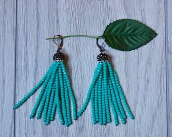 Aqua Beaded Tassel Earrings