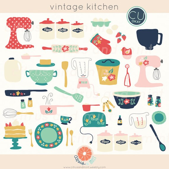 vintage kitchen clip art baking digital hand drawn illustrations rh etsystudio com Free Vintage Clip Art for Commercial Use Copyright Free Images for Commercial Use
