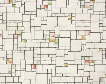 1930s Vintage Wallpaper by the Yard - Geometric Tile Red Yellow Black and Green