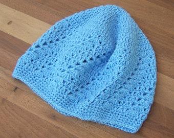 Crochet Kufi Hat - Skull Cap - Beanie -Lace - Frost Blue