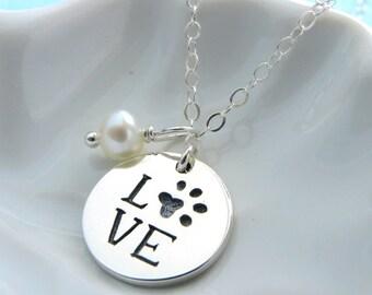 Love Paw Print Necklace • Birthstone Drop • Cat • Dog •  Pet Jewelry • Animal Lover • Paw Print Charm • Birthstone Necklace • Custom Pet