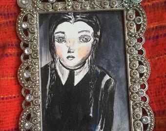 Wednesday Addams Mini Painting + MiniFrame Original