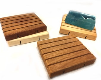 28 LARGE natural wood soap dish - 3.5x4.125 - 3 wood types to choose from