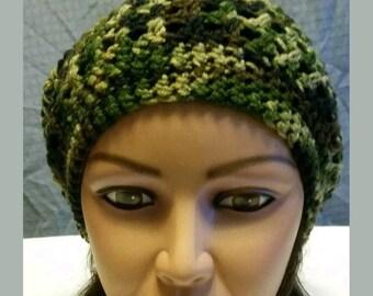 Handmade crochet slouchy beanie / hat green camouflage