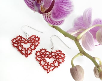 Romantic lace heart dangle earrings. Red. Anniversary gift. Birthday gift. Handmade tatting lace. Drop earrings. Valentine gift. Cotton.