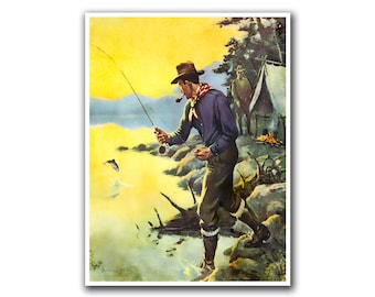 Fishing Art Vintage Sports Print Man Cave Poster (H50)