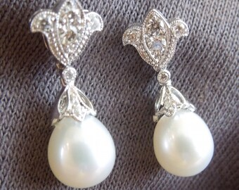 White Gold and Diamond Drop Pearl Earrings